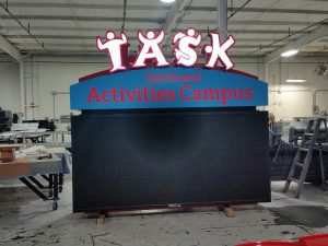 Internally Lit Aluminum Cabinet, Painted, Face Lit Channel Letters, Electronic Message Board
