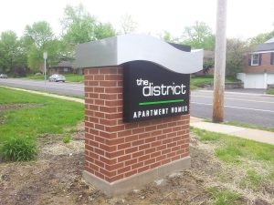 Non Lit Monument Sign, Aluminum Cabinet with Painted Push Through Acrylic Mounted on Brick Monument
