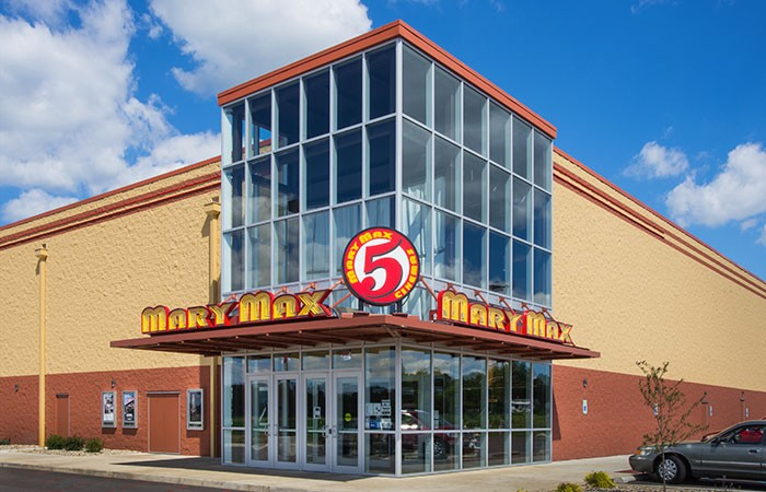 Mary Max Cinemas in Logansport Indiana - Channel Letters with Neon Lighting, Circle Cabinet with Illuminated Face and Vinyl Graphics