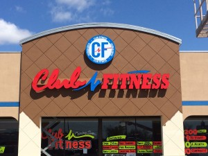 Club Fitness - Channel Letters, Face Lit, Raceway Mounted with Face Lit Cabinet